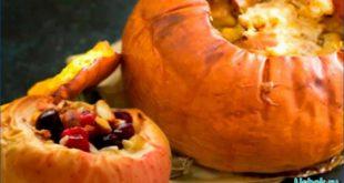 Десерт из яблок в микроволновке с арахисом и виноградом