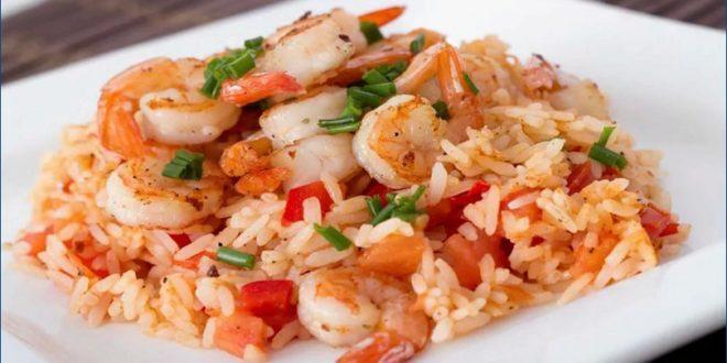креветки с рисом