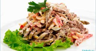 салат с отварным языком